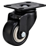 "2.5"" Swivel Black PU Caster Smaller Caster Black Lacquer Ruedas Y Rodajas Light Duty Castor"