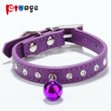 Dog Leather Collar with Crystal White Bells PU Pet Product