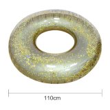 7inflatable Summer Transparent Glittering PVC Beach Pool Swim Ring with Golden or Silvery Sequins