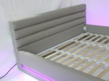 King Size Leather Modern Leather Bed with LED Light (HC565)