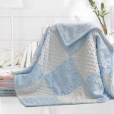 Raised Textured DOT Minky with Satin Trim Cuddly Soft Blanket