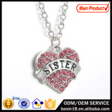 Fashion Pink Crystal Heart Pendant Necklace Jewelry for Women