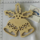 Hot Sale Christmas Laser Cutting Wooden Crafts Bell Home Decoration