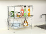 2018 Hot Sale Chrome Plated 2-Tiers Adjustable Kitchen Bakers Wire Rack Kitchen Microwave Stand
