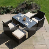 Mtc-229 Outdoor Garden 2 Seaters Cube Dining Set with Ottoman Rattan Furniture
