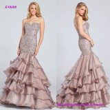 Dropped Waist Bodice Encrusted Eveing Dress with Multi-Tiered Skirt with Slight Train