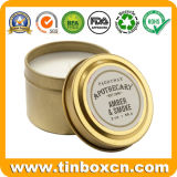 2oz Round Metal Candle Tin Box with Golden Gloss Varnish