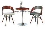 Wooden Base White Leather Bar Chair Modern Furniture (UL-Jt324