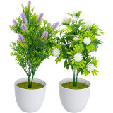 2 Pack Artificial Plants in Pots for Home Decor Indoor, Valentine Decorations Faux Plants Fake Flowers Greenery Real Touch Floor Leave (Setaria Viridis)