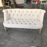 White Fabric Button Tufted Small Wooden Sofa