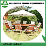 Solid Wood Outdoor Furniture Extendable Dining Set with Umbrella