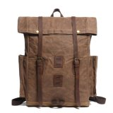 Designer Full Grain Leather School Bag Waterproof Canvas Cycling Laptop Backpack (RS-888005)