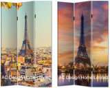 Eiffel Tower Design Living Room Canvas and Wooden Printing Decorative Folding Screen Room Divider X 3 Panel