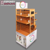 Floor Wood Food Rack Wooden Snack Display Stand with Graphics