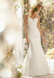 Embroidary Bead Lace Bridal Gown Backless Wedding Dress