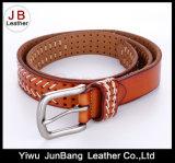 Lady's Punching Belt with White Nylon Thread Stitching