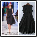 Lady Sleeveless Black Embroidery Elegant Dress
