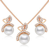 Imitation Necklace 18K Gold Plated Crystal Pearl Jewelry Set
