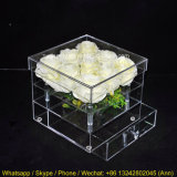 Hot Selling 9 Rose Pexiglass Square Flower Box Acrylic Flower Box with Drawer