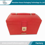 PU Leather Jewelry Box Mirror Jewelry Case Drawer Portable Gift Case Jewelry Storage for Female