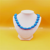 Natural Optimized Processing Turquoise Necklace with Oval Ball Beads