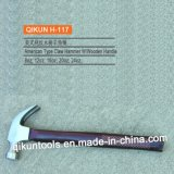 H-117 Construction Hardware Hand Tools American Type Claw Hammer with Laser Printed Wooden Handle