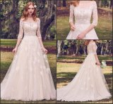 3/4 Lace Wedding Gown off Shoulder Bridal Wedding Dress H20175