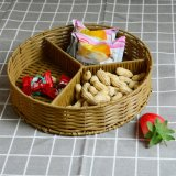 Round 3 Separate Storage Table Decorative Wicker Basket