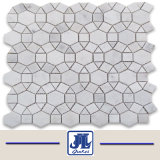 Carrara White Marble Mosaic Fan Shaped Tile in Mesh Mounted