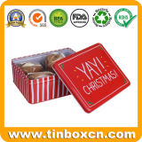 Rectangle Metal Christmas Cookie Tin Box for Packing Festival Gifts