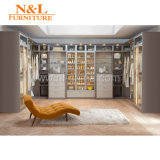 N&L Wooden Wardrobe Cabinet Closets with Sliding Mirror Wardrobe Doors