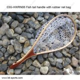 03G-Hwrn06 Fish Tail Handle with Rubber Net Bag Fly Fishing Landing Net