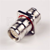 4 Hole Flange 4.3/10 Jack Female to Mini DIN Female RF Coaxial Connector Adapter