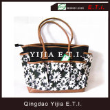 Printed Canvas Handbag with Leather Handles