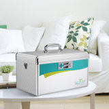 First Aid Box Locking Storage Box with Belt Silver Color