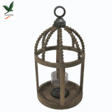Natural Vintage Wooden Hurricane Lantern Candle Holder with Beads