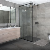 European Black Aluminium Profile Toughened Glass Shower Screen Manufacturer