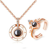 Rose Gold&Silver 100 Languages I Love You Projection Necklace Set Romantic Love Memory Wedding Necklace Jewelry Set
