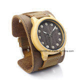 Wood Watch Leather Wrapped Around Bracelet Watches for Men