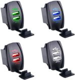 Waterproof LED Dual Car USB Charger for Rocker Switch Panel