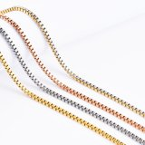 Gold Plated Stainless Steel Box Chain Necklace Bracelet Handcraft Design Fashion Jewelry Wholesale