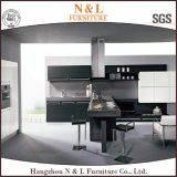 Dark Wood Veneer and High Gloss Wooden Kitchen Cabinet with Factory Price