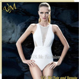 White Deep V Neck Sexy Luxury One Piece Swimsuits for Women