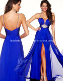 Spaghetti Evening Women Gowns Front Split Royal Blue Prom Party Dresses Z5020