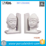 Decorative White Ceramic Buddha Head Bookend