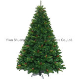 210cm Dense Green Artificial Christmas Tree with Pine Cone