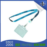 Popular Polyester Fashion Logo Blue Lanyard with Badge Card Holder