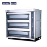 Food Factory Oven Cake Shop Machine Lighting Function 3 Deck 12 Trays Time Alarm Anti-Leakage Alarm Kitchen Machine Lava Stone Luxury Gas Oven