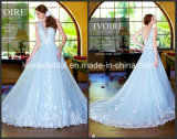 Sheer Ice Blue Bridal Gowns A-Line Tulle Lace Wedding Dresses W2015123