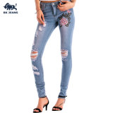 Lady Ripped 5 Pockets Embroidered Denim Jeans